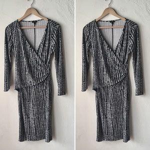 Talbots black & white patterned wrap dress